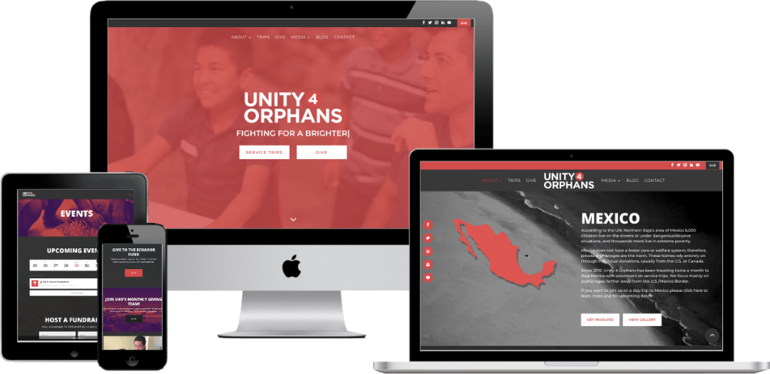 Unity 4 Orphans responsive website design